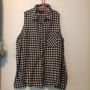 checkered open shoulder flannel